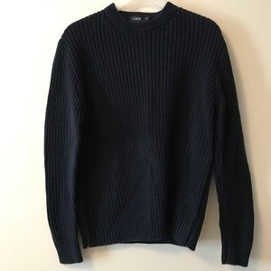 J. Crew Large Knit Navy Crewneck Sweater Size Med